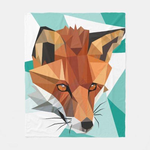 Polygon Red Fox Custom Fleece Blanket