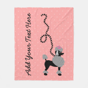 Poodle Skirt Dog Retro Pink 50s Modern Dots Custom Fleece Blanket