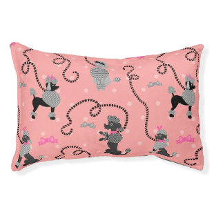 Poodle Skirt Retro Pink and Black 50s Pattern Small Dog Bed
