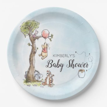 Pooh & Friends Watercolor | Baby Shower Paper Plate