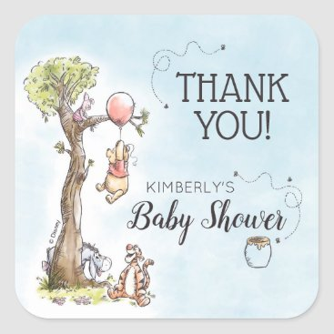 Pooh & Friends Watercolor | Baby Shower Thank You Square Sticker