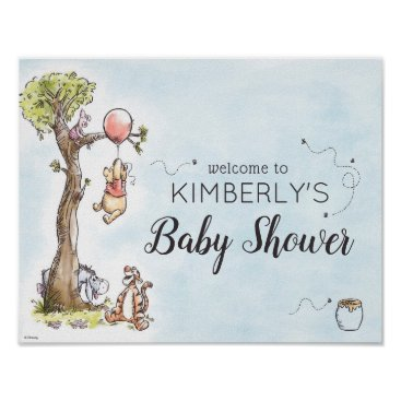 Pooh & Friends Watercolor Welcome Baby Shower Sign