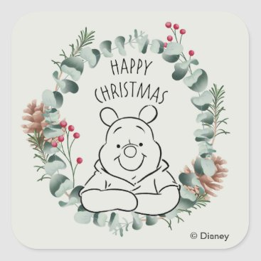 Pooh | Happy Christmas Wreath Square Sticker