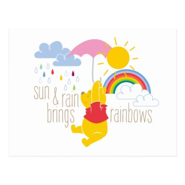 Pooh | Sun & Rain Brings Rainbows Quote Postcard