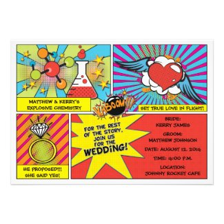Pop Art Comic Book Wedding Invitation