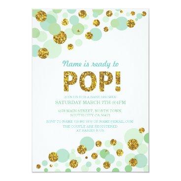 Pop Gender Reveal Baby Shower Mint Gold Invite