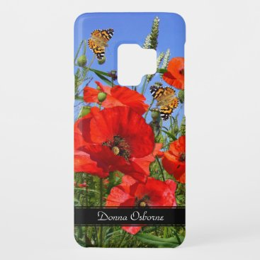 Poppy Field and Butterflies Custom Text Case-Mate Samsung Galaxy S9 Case