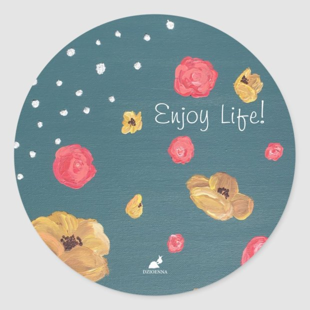 Poppy Flower and Rose Floral Enjoy Life! Stickers