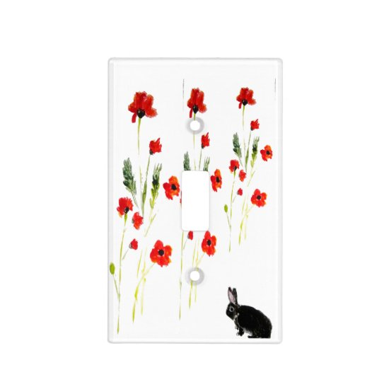 Poppy Flowers Bunny Rabbit Art Floral Light Switch Cover