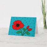 ❤️ Cute Red Poppy & Polkadots Greeting Card