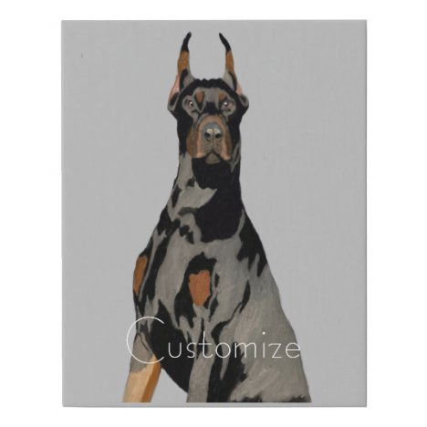 Portrait Black & Brown Doberman Pincher on Gray