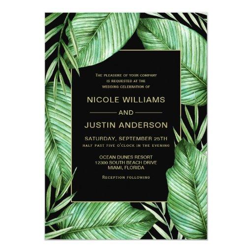 Posh Tropical Vibe Wedding Invitation