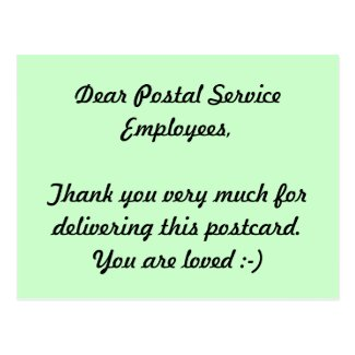 Postal Service Employees Thank you Postcard
