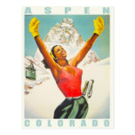 Postcard with Vintage Ski Print from Aspen