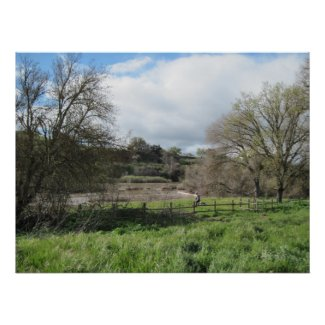 Poster: Woman Walking Dog by Salinas River print