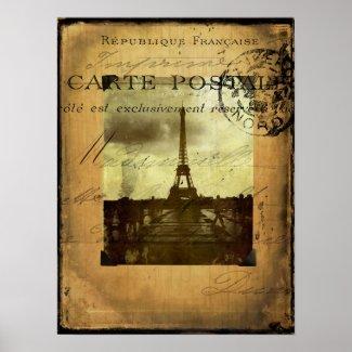 Postmarked Paris Poster