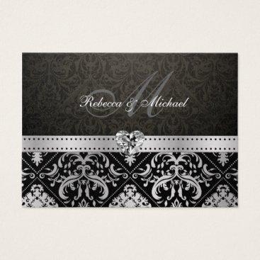 Premium Metallic Silver and Black Damask RSVP Card
