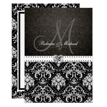 Premium Metallic Silver Damask Wedding Invites