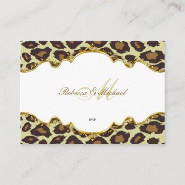 Premium Pearl Leopard Wedding RSVP Cards