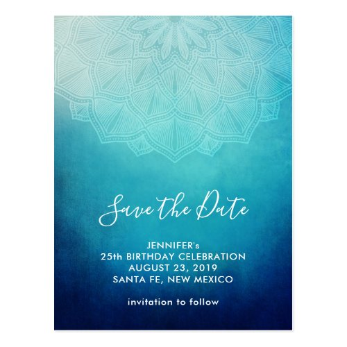 Pretty Blue Mandala Abstract  Save the Date Postcard