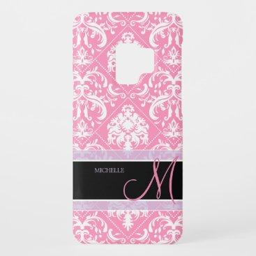 Pretty Bubblegum Pink and white damask w/ monogram Case-Mate Samsung Galaxy S9 Case