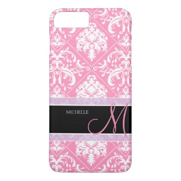 Pretty Bubblegum Pink and white damask w/ monogram iPhone 8 Plus/7 Plus Case