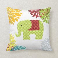 Pretty Colorful Hippie Elephant Flower Power Throw Pillow