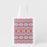 Pretty colorful pink pattern reusable grocery bag