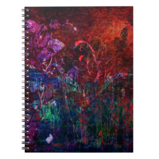 Pretty Colorful Red Aqua Purple Abstract Vines Note Book