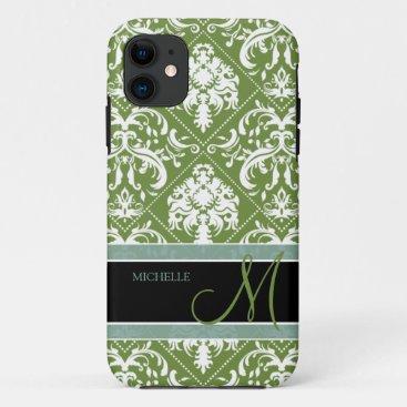Pretty Dark Olive Green & white damask w/ monogram iPhone 11 Case