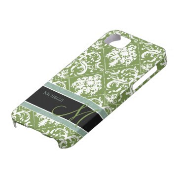Pretty Dark Olive Green & white damask w/ monogram iPhone SE/5/5s Case