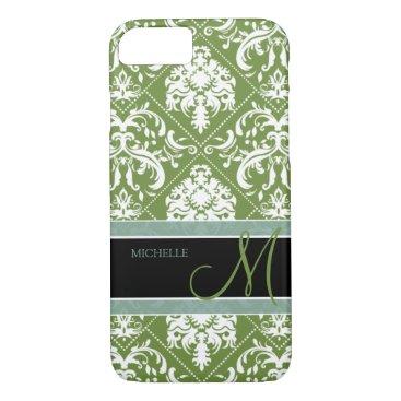 Pretty Dark Olive Green & white damask w/ monogram iPhone 7 Case