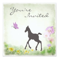 Pretty Foal and Butterfly Horse Baby Shower Invite