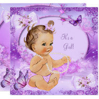 Pretty Girl Baby Shower Purple Butterfly Brunette Card