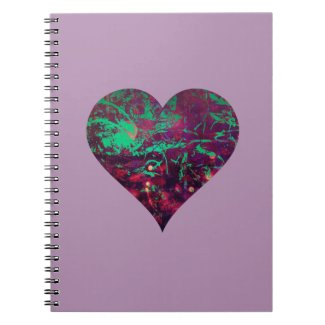 Pretty Girly Abstract Purple and Aqua Heart Note Books