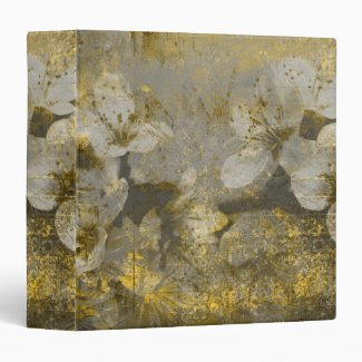Pretty Gold Flecked Floral Grayscale 3 Ring Binder