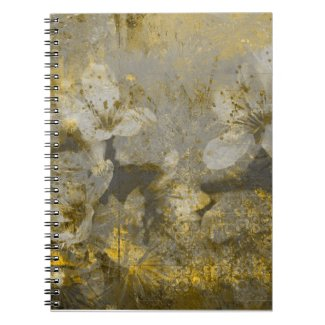 Pretty Gold Flecked Floral Grayscale Note Books
