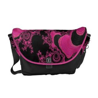 Pretty In Pink Fractal Rickshaw Messenger Bag