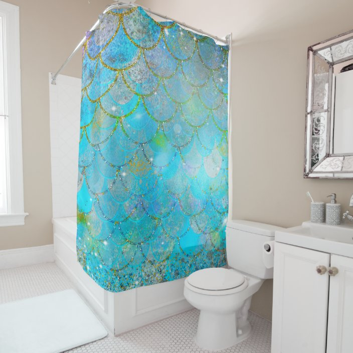 pretty iridescent pearl shimmer mermaid scales shower curtain zazzle com