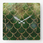 Pretty Iridescent Pearl Shimmer Mermaid Scales Square Wall Clock