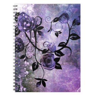 Pretty Lavender Purple Grunge Rose Vine Design Spiral Note Book