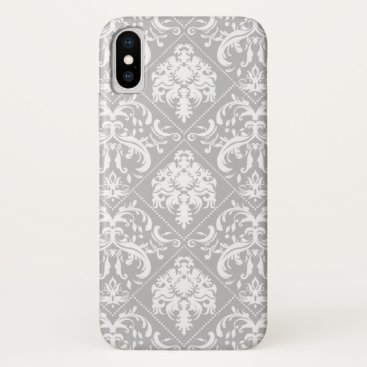 Pretty Light Gray with White Damask Pattern iPhone XS Case