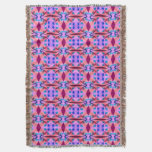Pretty orange Blue Floral Abstract Pattern Design Throw Blanket