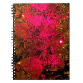 Pretty Pink Abstract Gold Fantasy Grunge Design Spiral Note Books