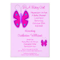 Pretty Pink Butterfly It's A Baby Girl Shower Card