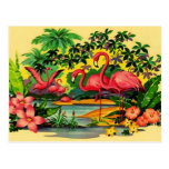 ❤️ PRETTY PINK FLAMINGOS IN TROPICAL FOREST POSTCARD