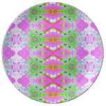 Pretty pink green jewel fractal pattern porcelain plates