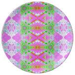 Pretty pink green jewel fractal pattern porcelain plates