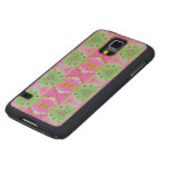 Pretty pink green jewel fractal pattern carved® maple galaxy s5 case