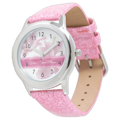 Pretty Pink Lilies Wristwatches